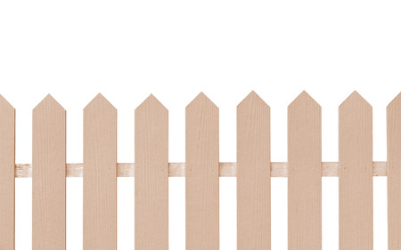 Wooden fence background isolated over white background. Stock Photo