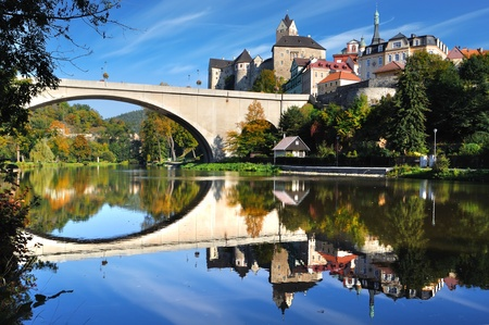 Picturesque landscape with bridge and castle Loket  Czech republic
