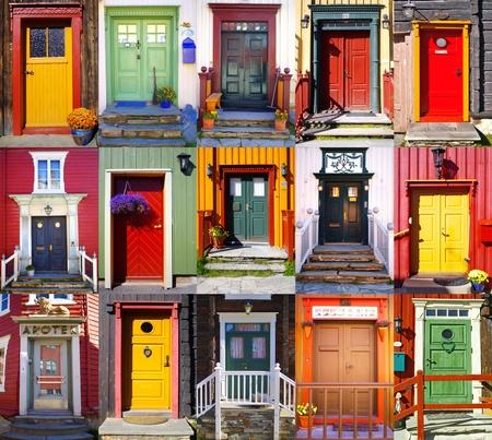 Collage of doors in Røros. Norway photo