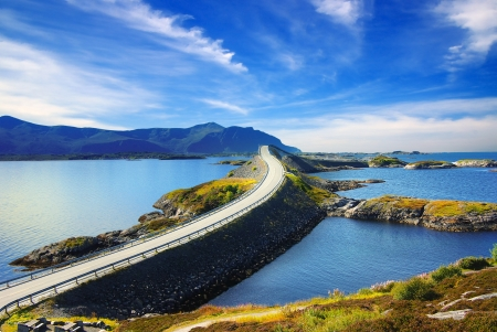rocky road: Picturesque Norway landscape. Atlanterhavsvegen