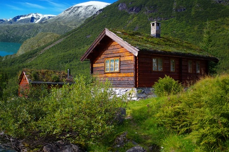 Autumn Norway landscape with huts Stock Photo