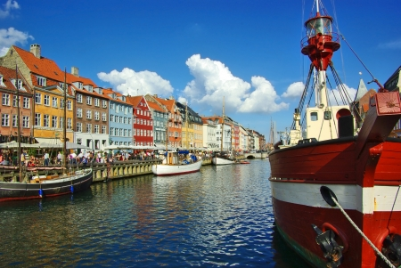 Nyhavn  new Harbor  in Copenhagen, Denmark
