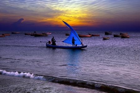 india fisherman: Fishing at sunset in India