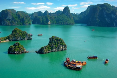bay: Picturesque sea landscape. Ha Long Bay, Vietnam  Stock Photo
