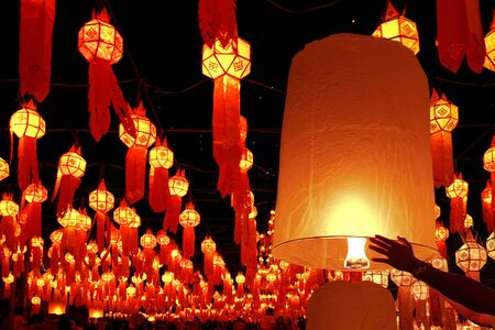 chiang mai: Lanterns at festival of fire in Chiang Mai,Thailand