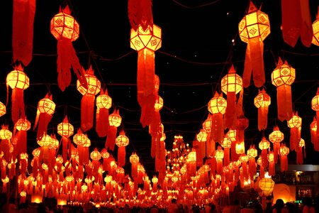 Lanterns at festival of fire in Chiang Mai,Thailand Stock Photo - 13060281