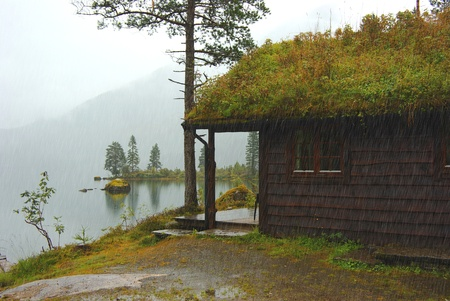 Autumn Norway landscape with hut  photo