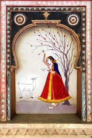 indian village: The decoration of the Bundi Palace  India