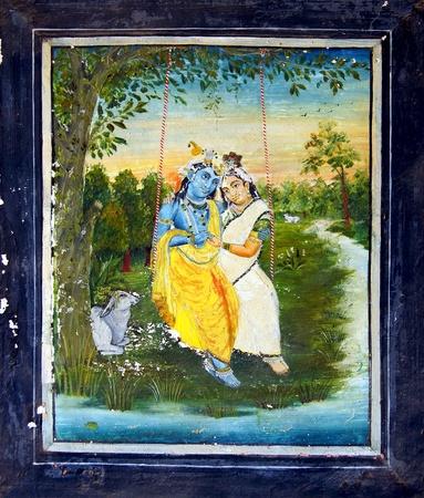 parvati: Fragment of decoration of the Palace  Dungarpur, India