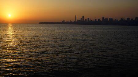 Marine Drive at sunset Mumbai, India