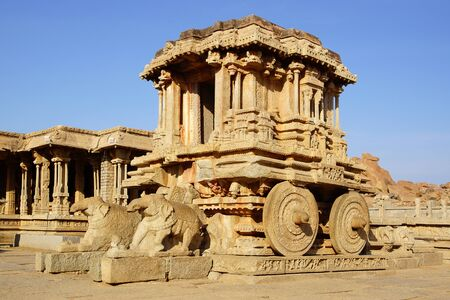 Ancient ruins of Stone chariot  Hampi, India        photo