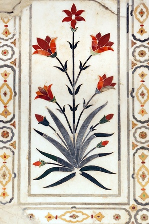 mogul: Details of polished marble surface is covered by stone inlay  Red Fort in Agra, India
