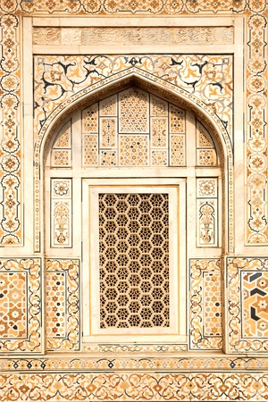 Details of polished marble surface is covered by stone inlay   Agra, India