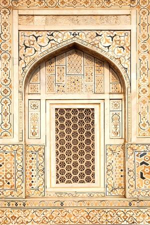Details van gepolijst marmer oppervlak is bedekt met stenen inlegwerk Agra, India