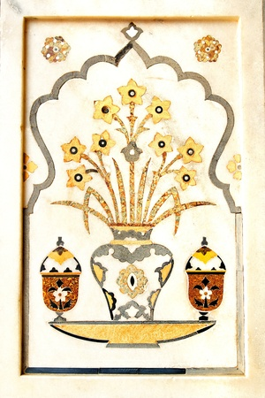 mogul: Details of polished marble surface is covered by stone inlay   Agra, India