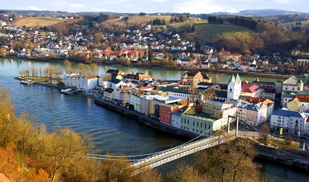 Picturesque panorama of Passau  Germany