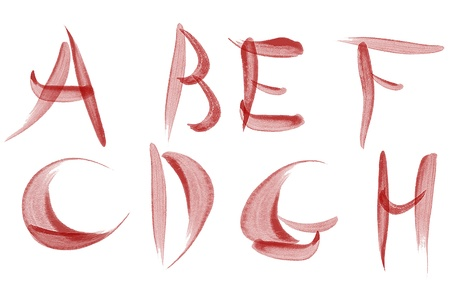 Red watercolour Alphabet with symbols photo