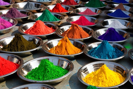 On the photo  Colorful tika powders on Orcha market, India