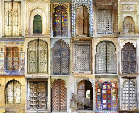 On the photo  Collage of the ancient Indian doors photo