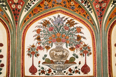 amber: Detail of decorated gateway. Amber fort.  Jaipur, India