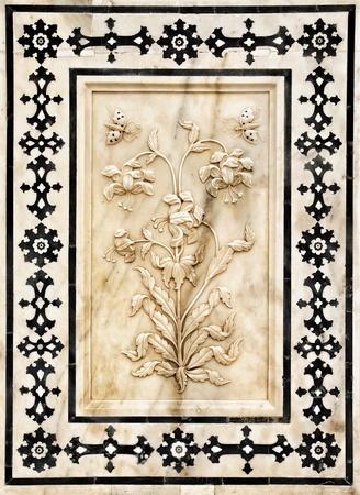 Detail van versierde Palas. Amber fort. Jaipur, India