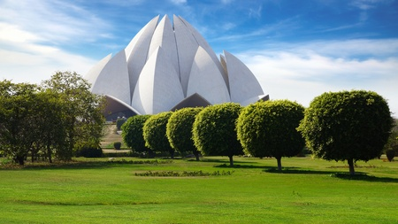 symbol tourism: Picturesque landscape with Lotus Temple. New Delhi, India