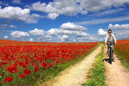 prairie: Woman on a bicycle on a background of the poppies plantation
