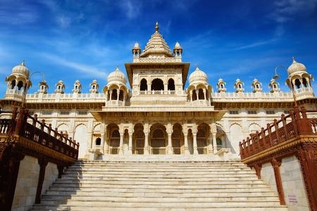 rajput: Jaswant Thada - white marble memorial. Jodhpur, India.