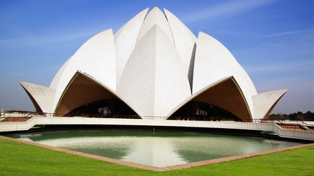 Picturesque landscape with Lotus Temple. New Delhi, India