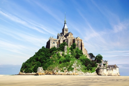 mont: Landscape with  Mont Saint Michel abbey. Normandy, France.