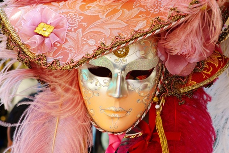 Photo of a typical carnival mask in Venice photo