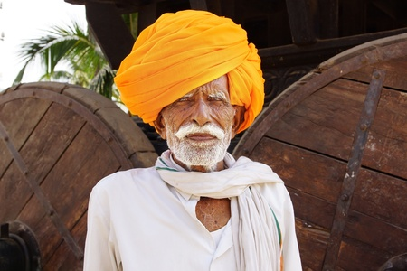 HAMPI, INDIA- FEBRUARY 01: Portrait of a old Indian man with turban at Hampi. February 01, 2012 in Hampi, India.