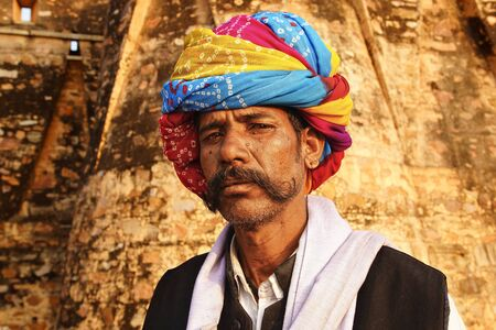 CHITTORGARH, INDIA- JANUARY 19: Portrait of a Indian man with turban at Chittorgarh, January 19, 2012 in Chittorgarh, India.