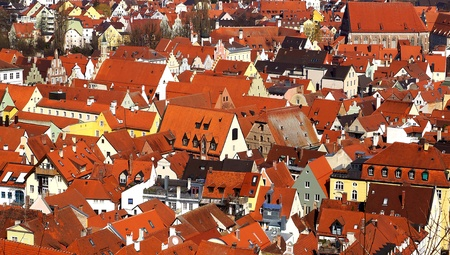 landshut: Picturesque panorama of Landshut with a lot of roofs. Germany Stock Photo