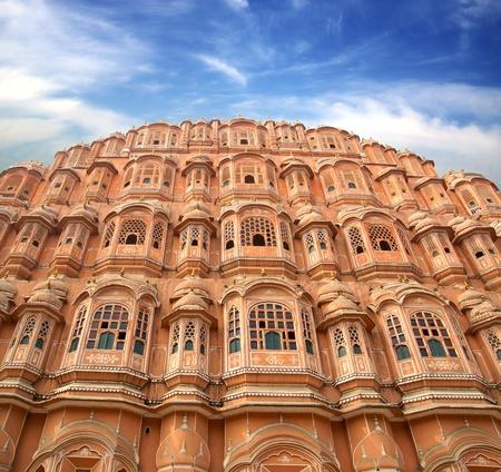 Hawa Mahal-Paleis der Winden, Jaipur-roze stad. India. Stockfoto
