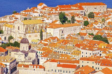 croatia dubrovnik: Sea landscape with Dubrovnik, Croatia Stock Photo