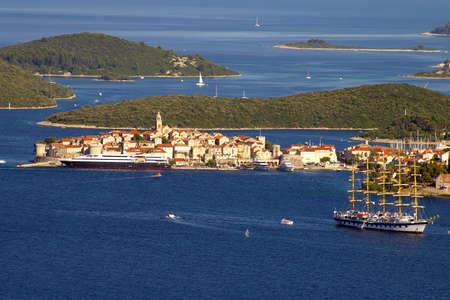cruis: Picturesque sea landscape with Corchula city, Croatia Stock Photo