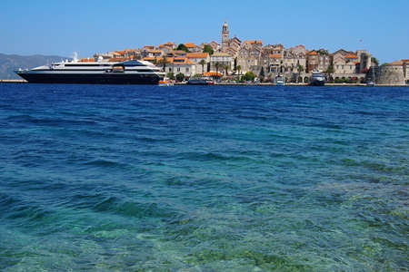 Ancient city and the modern yacht in a Trogir city, Croatia