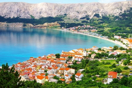 Picturesque nature sea landscape with Baska, Krk island