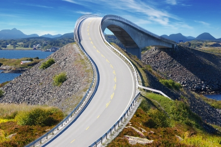 rocky road: Picturesque Norway nature landscape with bridge. Atlanterhavsvegen Stock Photo