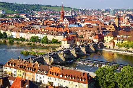 Schilderachtig landschap met Würzburg, oude stad Duitsland Stockfoto