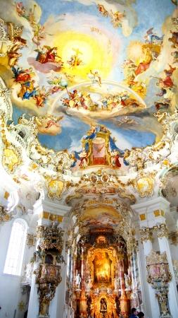 pilgrimage: Interior of the Pilgrimage Church Wieskirche in Wies, Germany