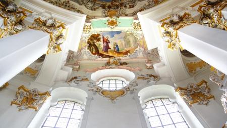 peregrinación: Interior de la Wieskirche Iglesia en Wies, Alemania