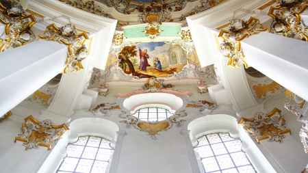 Interior of the Pilgrimage Church Wieskirche in Wies, Germany