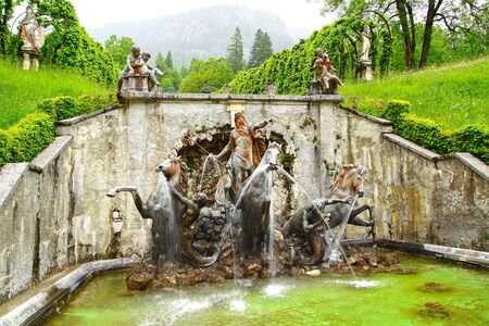 fairy garden: Landscape with fountain in the Linderhof Palace  Germany Editorial