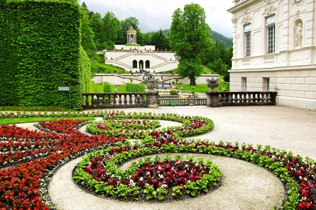 Landscape with Garden in Linderhof Palace  Germany Stock Photo