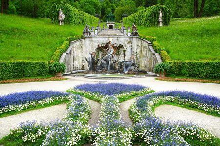 king neptune: Landscape with fountain in the Linderhof Palace  Germany Stock Photo