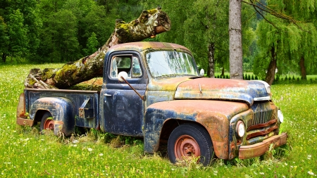 Picturesque rural  landscape with old fashioned car