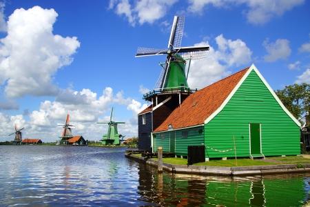 Picturesque landscape with windmills. Zaandijk, Netherlands