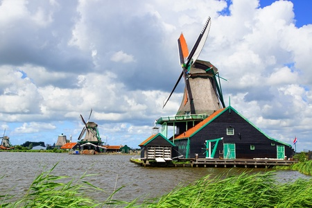 Picturesque rural landscape with windmills. Zaandijk, Netherlands Stock Photo - 14977019
